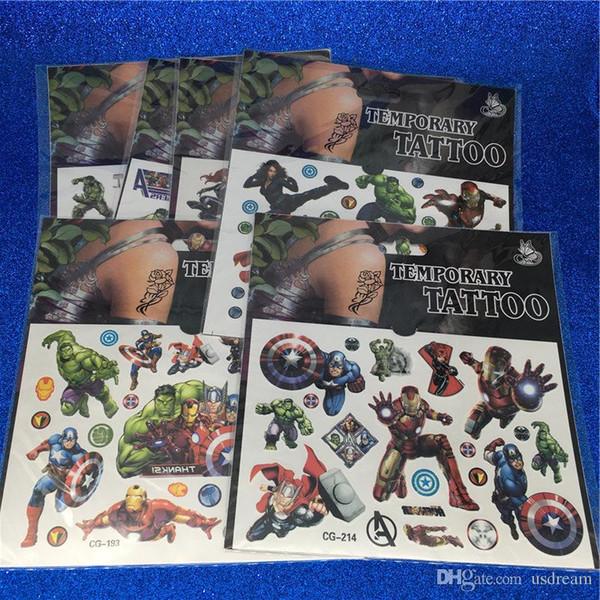 top popular Super Heroes Avengers Temporary Tattoo Sticker Waterproof Hulk Iron Man Capitain America Thor Cartoon Tattoo for Children Drop Ship 240089 2019
