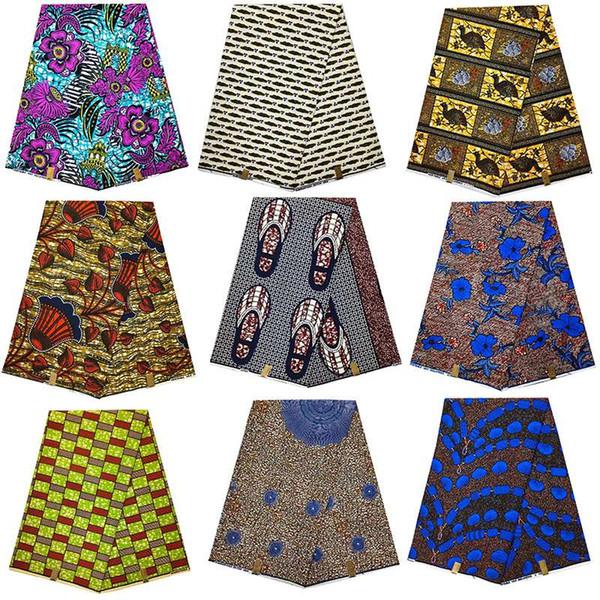 Tela de cera hollandais africana nigeriana ankara dorada dorada verdadera, flor de agua 100% algodón material de ropa africana