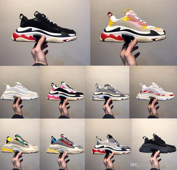 Mens Fashion 17FW Trsiple S cristal bas papa Chaussures simple de sport bon marché Noir Triple S Sole Chaussures Effacer de femme Taille 36-45