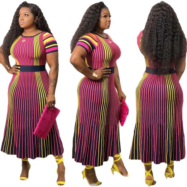 Africa Clothing Multicolor Striped Printed Long Dress Female Elegant O-Neck Short Sleeve A-Line Maxi Dress OL Holiday Beach