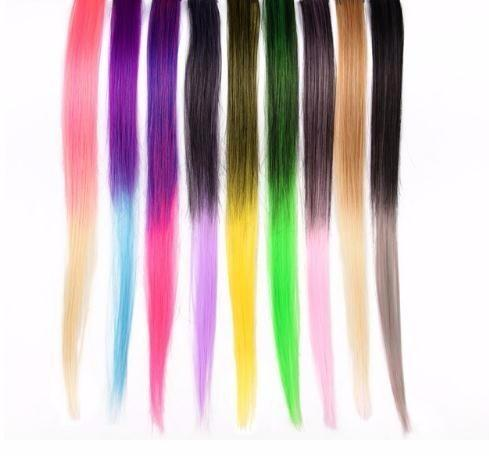 2019 Clip Extensions 18 Inch Long Hairpieces For Women False Hair With Clip Blonde Pink Rainbow Ombre And Pure