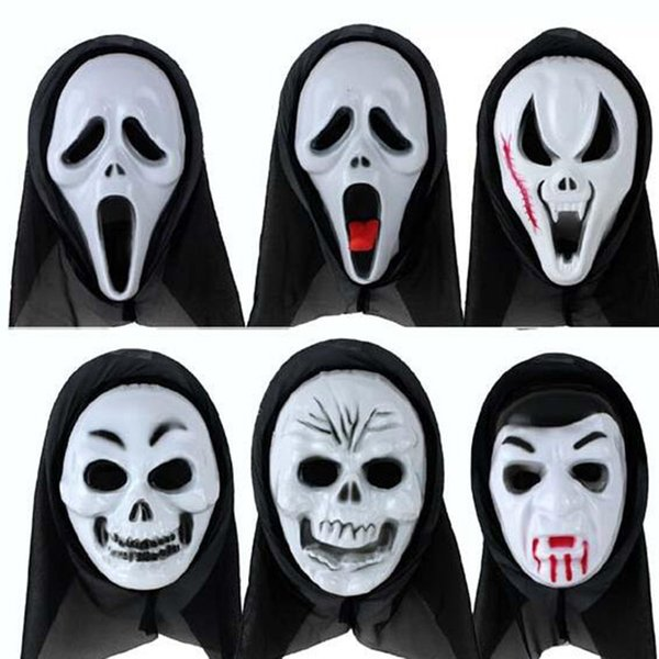 Scary Mask 6 stili disponibili Halloween Skull Scream Zombie Ghost Demon PVC per Party Costume Cosplay Natale Masquerade Adult Whole Face