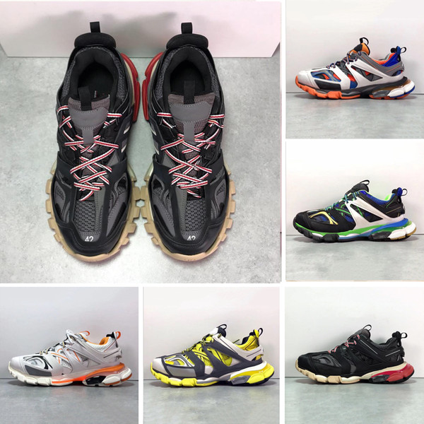 2019 paris triple s brand track 3.0 orange yellow men women running shoes platform sports sneakers tess s. gomma trek mens trainers