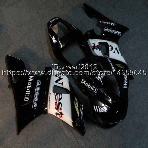 Custom+Screws west black motorcycle cowl for Yamaha YZF-R1 98-99 YZF R1 1998-1999 ABS Plastic Fairings