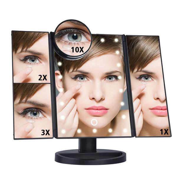 LED-Touchscreen 22 LED-Licht Make-up-Spiegeltisch Desktop-Make-up 1X / 2X / 3X / 10X Vergrößerungsspiegel Eitelkeit 3 Klappbarer verstellbarer Spiegel