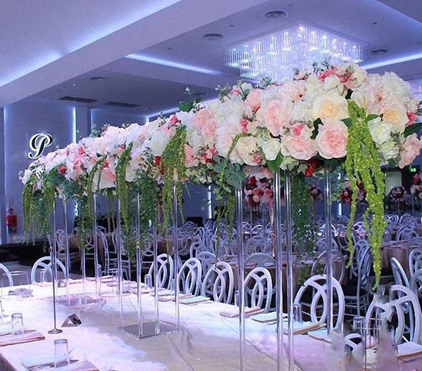 New style clear crystal trumpet table top vase tall acrylic cylinder or wedding centerpiecesWedding vased Plated Trumpet vase senyu351