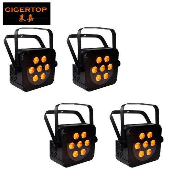 TIPTOP 4 Units 65W LED Par Lights Flashing Stage Light DMX512 Control Wedding DJ Equipment 7x15W 5in1 Color mixing