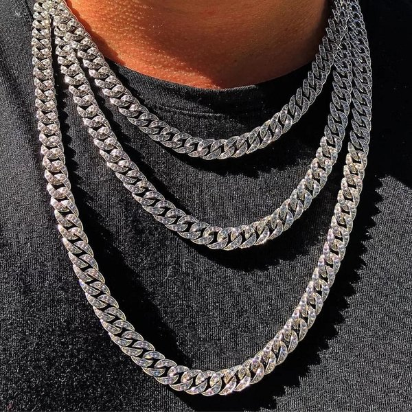 hiphop2018 / Iced Out Chain Hip Hop Bling Chains Jewelry Men Rhinestone Crystal Gold Silver Miami Cuban Link Chain Necklace