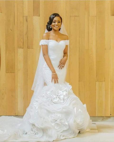 White Organza 2018 Off Shoulder Vestito Da Sposa African Princess Beach Wedding Dresses Mermaid Sweetheart Drop Waist bridal Gowns