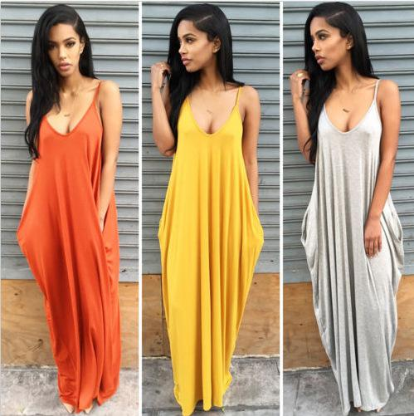 Soft Milks Fiber Sleeve Pocket Dress Women Sexy Neck Backless Sun Dress Lady's Beach Vacation Long Dresses Solid color Loose Sling S-XL New