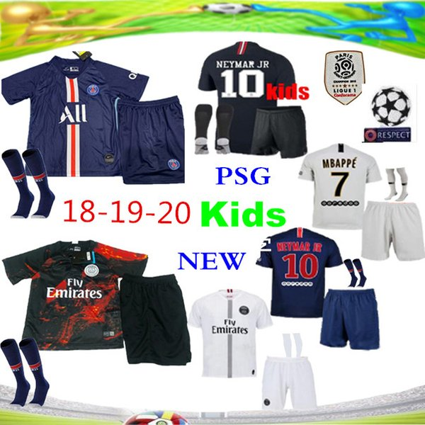 2019 Psg kids kit Soccer Jersey 18 19 Champions League Mbappé black white CAVANI VERRATTI TRACKSUIT Jordam Kids Football jersey Paris maillo