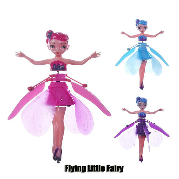 Diy flying fairy doll toy mini rc drone infrared induction control led light flying fairie doll helicopter toy for girl xma gift