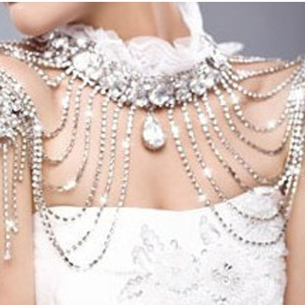 Bride Beads Lace Bridal Chain Tassel Shoulder Strap Jewelry Crystal Accessories Jewellery Wedding Necklace Earrings Jewerly Sets C19021601
