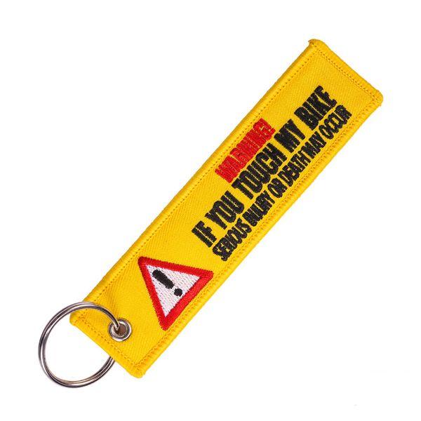 Relodi Hazard Warning Sign Keychain Double-sided Ricamo in poliestere tessuto bicicletta chiave Fob regalo per gli uomini SP2368