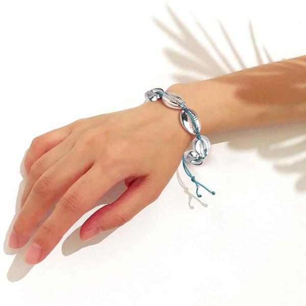 Kadınlarda KELITCH Gümüş Shell Bilezikler el dokuma Charm Metal Cowrie Boncuklu Wrap Bilezikler Bilezik Moda Bileklik Takı