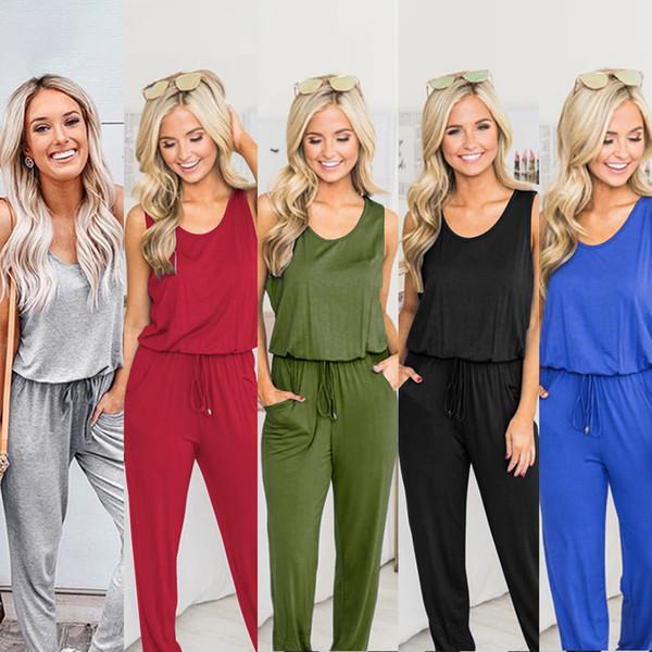 Tute da donna tuta tute yoga figura intera colore puro sexy senza maniche 2019 estate europea usa vendita calda di alta qualità libero dhl