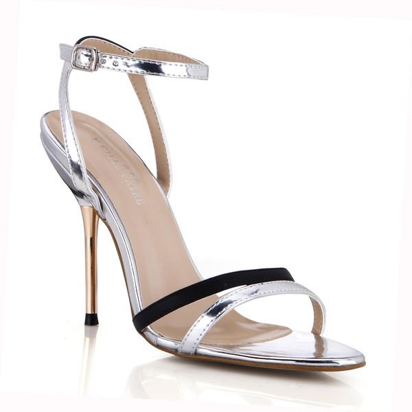Sandalias de Mujer de plata 2019 Zapatos de Fiesta Metal Talón Chaussures Femme Zapatos Mujer Sapatos Femininos De Salto Imagen Real Zapatos Sandalia