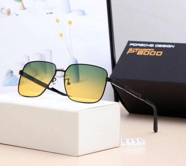 Gafas de sol de diseñador Gafas de sol de lujo de la marca P0130 para hombre Gafas de diseño para conducción nocturna con caja y logotipo de calidad superior