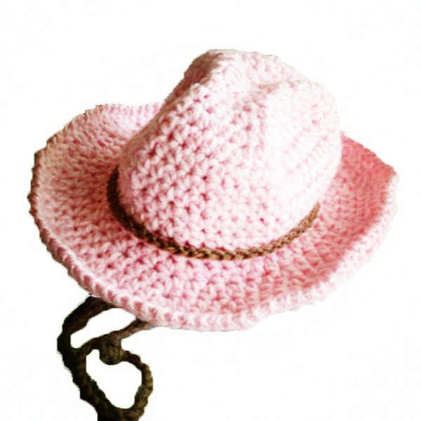 Super Cool Handmade Knit Crochet Baby Boy Girl Cowboy Hat,Baby Shower Gift,Kids Pink Funny Cap,Infant Newborn Photo Prop