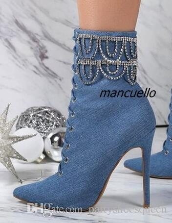 22018 new Blue Jeans Stiletto Heel booties Pointy Ankle Boots Cross Strap Crystal Decorated Lace Up Short Boots Trendy fashion Shoes New