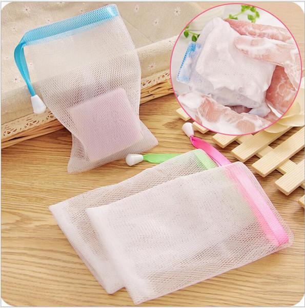 1000 unids / lote Envío rápido 9.5 * 15 cm Jabón de la ampolla de malla Net Espuma Fácil bolsa de malla de burbujas de baño ducha de color al azar