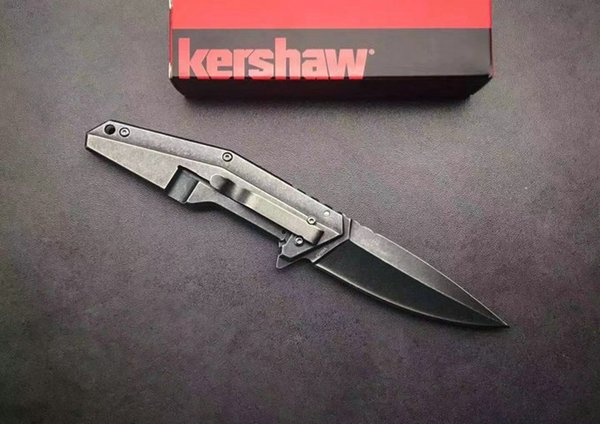 """New Arrival Kershaw 1318 Starter Series 7.75"""" Assisted Opening Flipper Folding Knife Black Stone Wash Finish With Retail Box"""