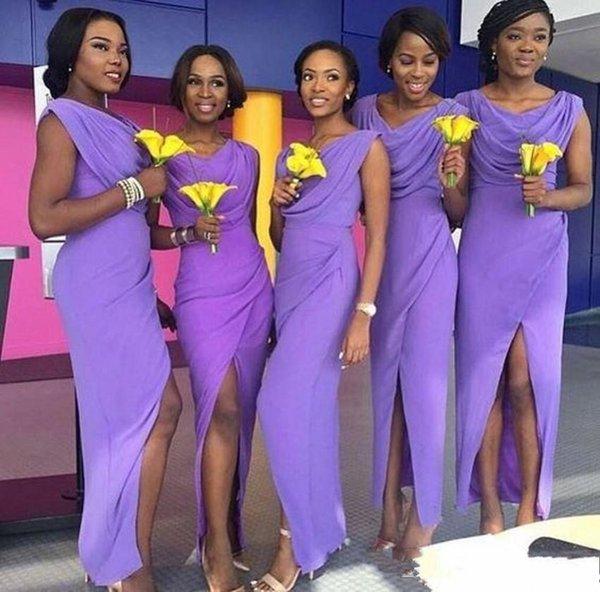 2020 Cömert Afrika Lavanta şifon Kılıf Uzun Gelinlik Modelleri Scoop Boyun Yan Bölünmüş Wedding Guest Elbiseler Gelinlik Önlükler