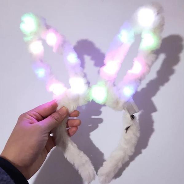 LED Flashing Plush Rabbit Ears Headband Fancy Dress Bunny Light Up Hairband Headwear Glowing Hoop Wedding Birthday Party Favors Table decor