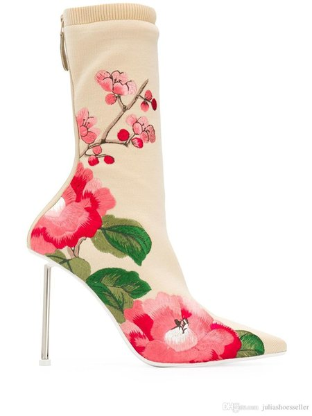 Neue Ankunft 2019 Frühling dehnbarer Stoff Spitzschuh Blumen Botas Nadel High Heels Rückseite Reißverschluss-Blumen-Druck Gestrickte Ankle Boot Frau