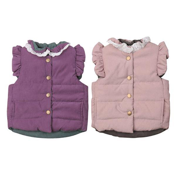 Moda Çocuklar Ceket Kış Sıcak Fırfır Dantel Kızlar Yelek Kolsuz Çocuk Mont Yelek Çocuk Kabanlar Kız Mont Ve Ceketler