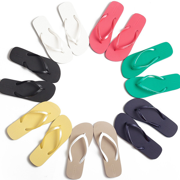Pure Color Fashion Sandals For Lady Summer Light-weigh Home Beach Flip Flops Soft Quick Drying Flat Sliipers 8 Colors
