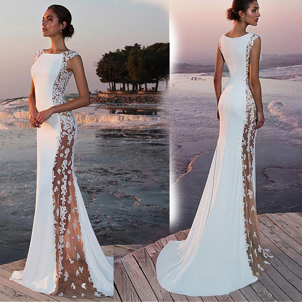 New elegant ladies slim sheer sexy dress silk lace fishtail party wedding evening long white dress wholesale