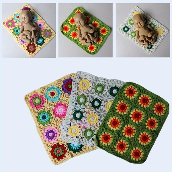 Neugeborene Babydecke Foto Requisiten neugeborene Fotografie Zubehör Blumen Häkeln Teppiche für das Kindermädchenjungen Fotoschießen- Baby fotografia