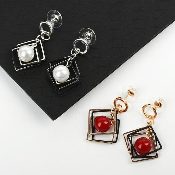 Boucles d'oreilles japonaises et coréennes en gros géométrique anneau boucles d'oreilles multicouche diamant perle cerise pendentif boucles d'oreilles explosion Taobao