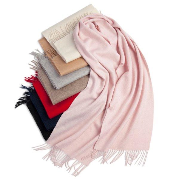 2019 100% pura lana cachemira de Mongolia Interior de la moda Color sólido simple diseño de la bufanda de las bufandas de alta calidad para invierno caliente 30 * 180cm