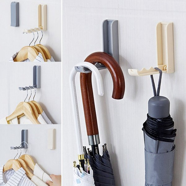 Foldable Sticky wall hanging Hook Folding Self Adhesive Towel Clothes Hanger Hooks Rotating Space Saving Racks