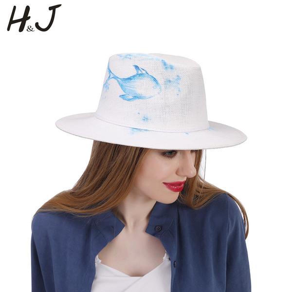 2019 Handmade Paint Panama Hat Fashion Women Summer Straw Beach Wide Brim Sun Sun Hat With Fashion Blue Size 58CM