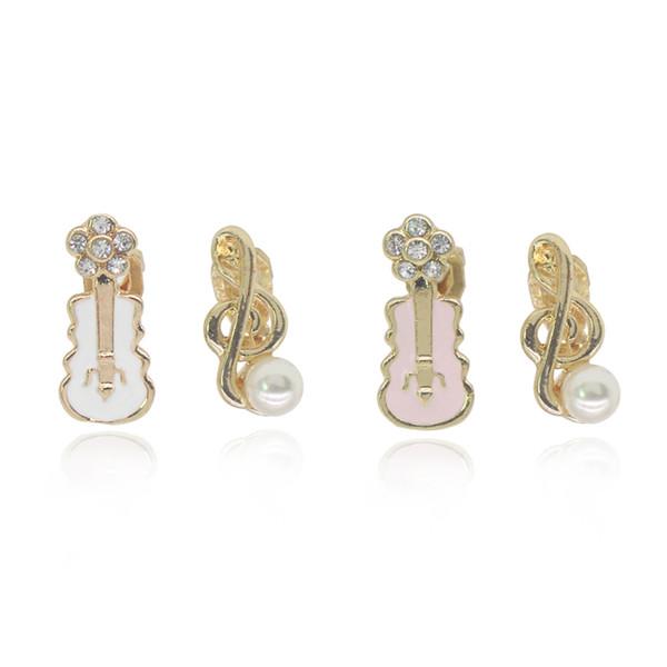 Perle note musicali orecchini di cristallo fiore rosa bianco violino chitarra orecchini per le donne carino regalo di compleanno
