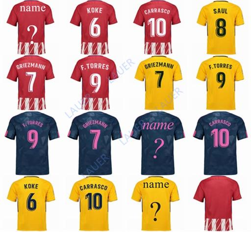 612f93bb4 Men Atletico Madrid GRIEZMANN Madrid Home Soccer Jersey KOKE Soccer Shirt  Customized SAUL DIEGO COSTA 17 18 Atletico Men Football El Futbol