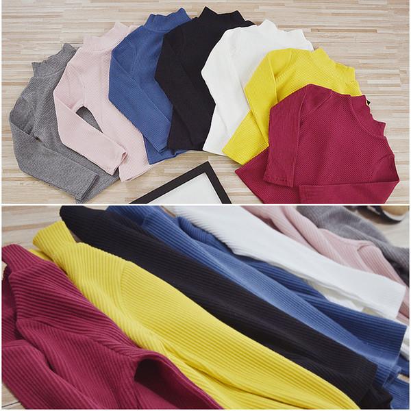 2019 Autumn Kids T-shirt Boys Tops Boy Long Sleeve Shirts Baby Girl T Shirt Cotton Turtleneck 1-9T Children's Clothing D02