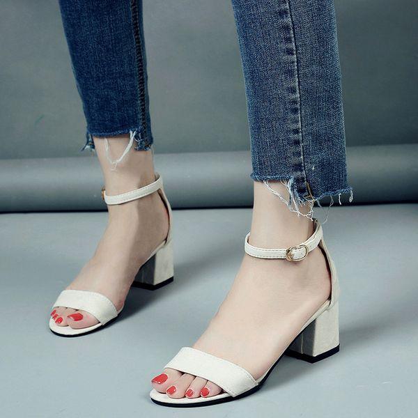 Estate Donna Scarpe Sandali femminili Buckle Strap Cover Heel Fashion Chunky Sandali da donna per donna Black White Footwear 2019