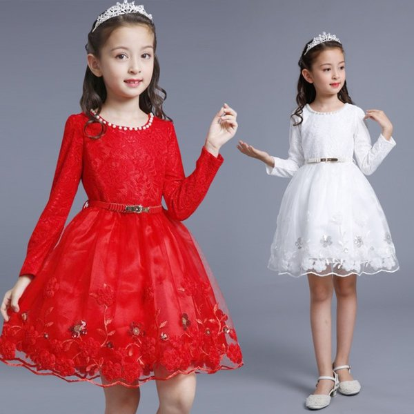 2018 autumn winter children's clothing girls long-sleeved dress plus velvet princess dress Korean version of the pettiskirt children's skirt