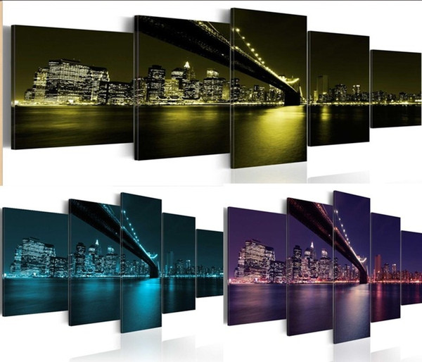 5 Panels Hot Canvas Print Bridge Night Landscape Poster Modern Home Wall Decor Painting Canvas Printing Art HD Print Painting