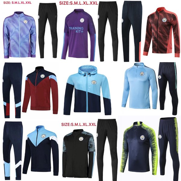 top popular Top Men soccer tracksuit 2019 2020 survetement foot chandal man city futbol football training suit jogging 2019