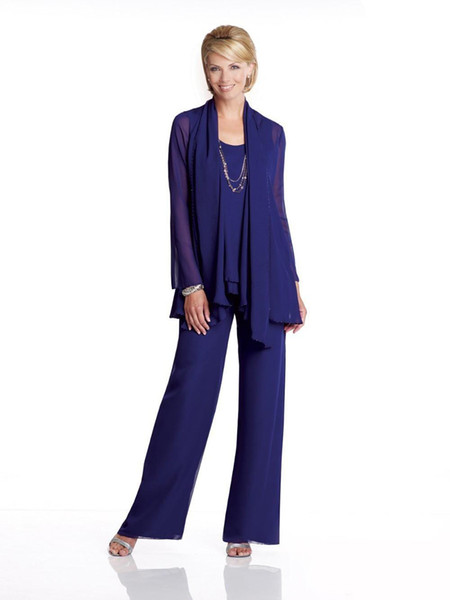 Royal Blue Three Pieces Chiffon Mother Of The Bride Dress Pants Suit Cheap Dresses Party Evening For Wedding Mothers Guest Dress