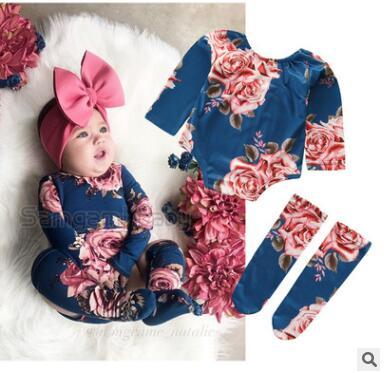 Newborn Baby Girl Tops Romper +Leg Warmers Outfit Clothes Set 2019 Summer Short Sleeve Floral Jumpsuit Bodysuit Toddler Girls Clothes 3-24M