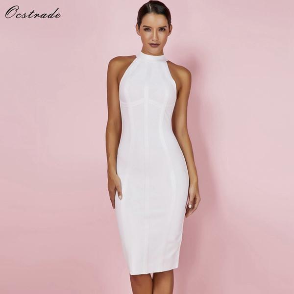 Ocstrade Sexy Women White 2019 New Arrivals Striped Halter Midi Bodycon High Quality Bandage Rayon Dress Q190423