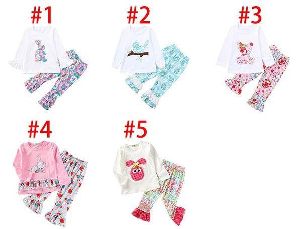 Paskalya Günü Bebek Kız Kıyafetler fırfır Kol Tavşan Tops + Çiçek Baskı Pant 2adet Bahar Bebek Butik Giyim Güz Set