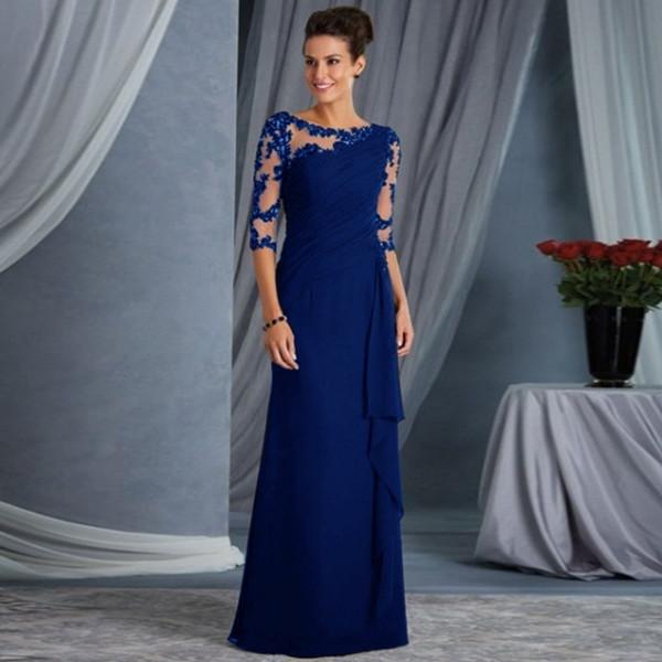 2019 dames de la mode nouvelle explosion modèles longue dentelle couture autour du cou robe manches robe