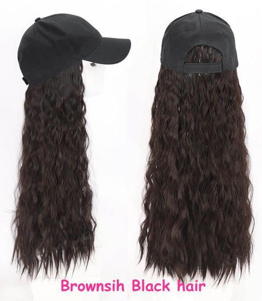 Baseball hat Brownish balck curly hair